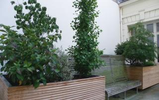 Jardinières inox en L lattées chêne (Paris) 200x160 x h 80cm