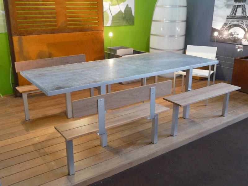 LUNCH set table et bancs acier inox bois pierre
