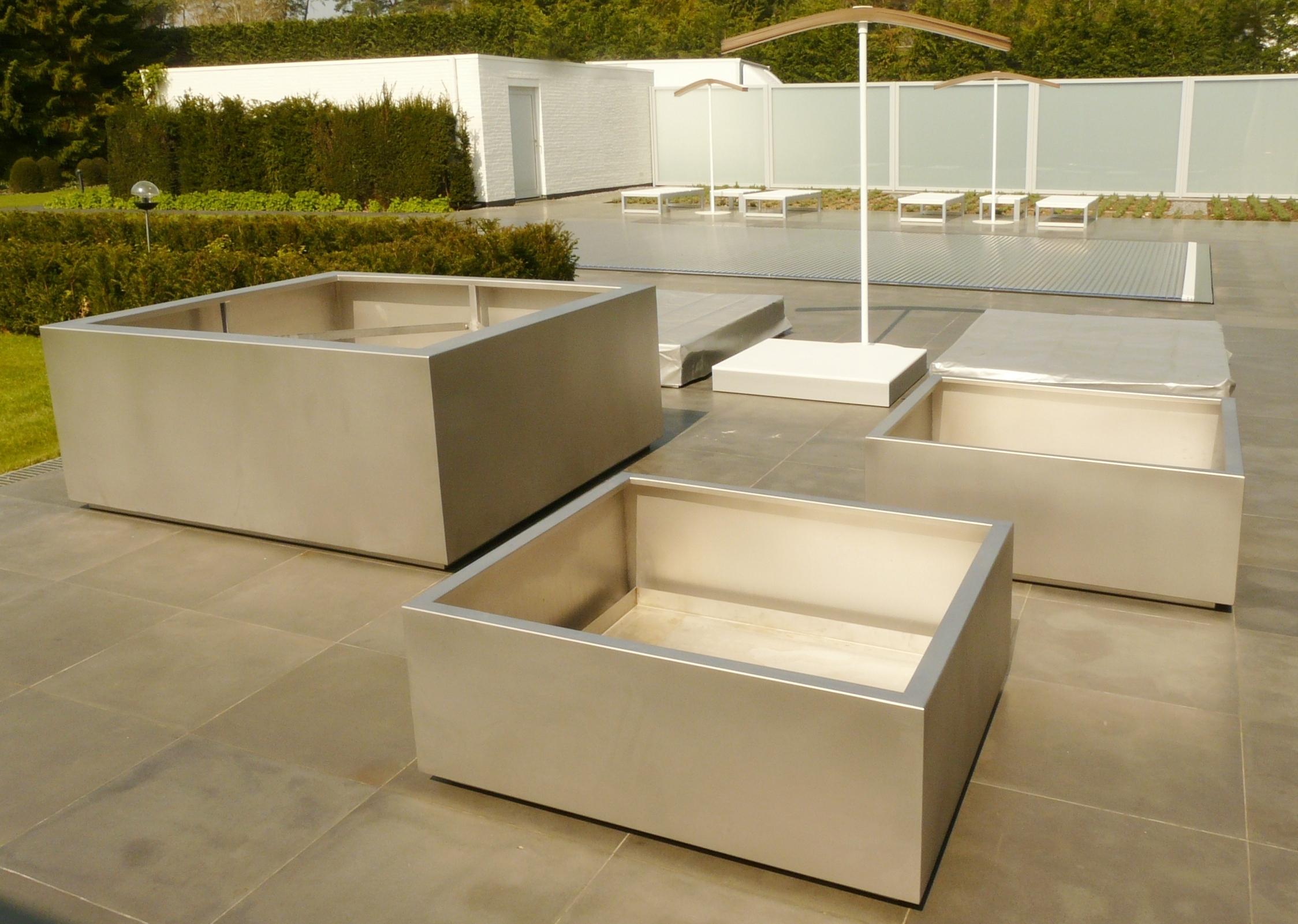 Jardinière Bac ALASKA acier inox 2mm 185xh75 et 115xh45cm, finition microbillage, système tenue de motte de grand arbre