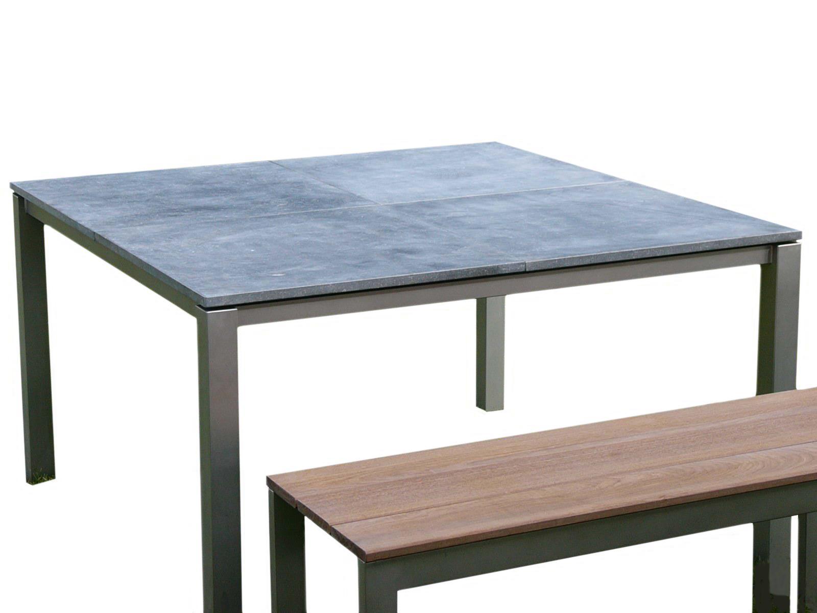 QUADRO table acier inox pierre