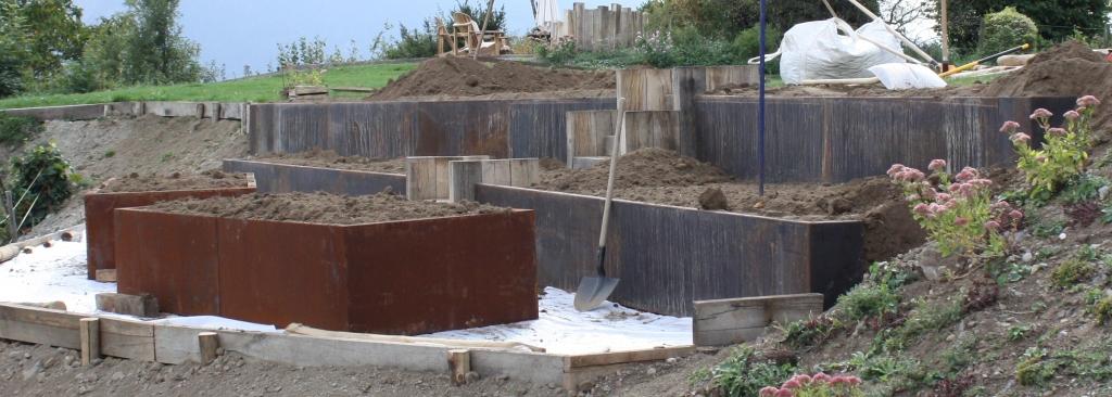 Bordure corten L pour nouvelles zones de plantation
